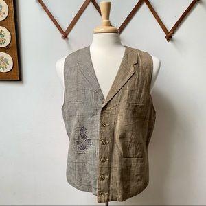 Paul Smith Linen Patchwork Plaid Embroidered Vest